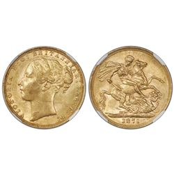Great Britain (London, England), gold sovereign, 1871, Victoria (young bust), St. George reverse, NG