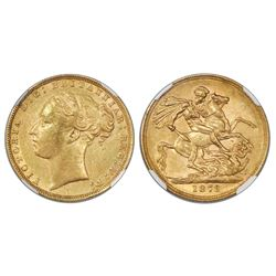 Great Britain (London, England), gold sovereign, 1872, Victoria (young bust), St. George reverse, NG