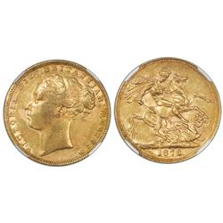 Great Britain (London, England), gold sovereign, 1873, Victoria (young bust), St. George reverse, NG