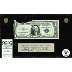 USA, $1 silver certificate, series 1935E, serial P99539939H, salvaged from the Andrea Doria (1956),
