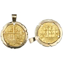 Lima, Peru, cob 8 escudos, 1711M, ex-1715 Fleet, mounted cross-side out in 14K gold bezel with fixed