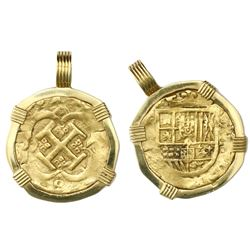 Seville, Spain, cob 4 escudos, Philip IV, assayer not visible, mounted cross-side out in 18K gold be