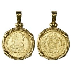 Popayan, Colombia, bust 1 escudo, Charles III, 1777SF, mounted in 18K gold twisted-wire bezel with s