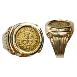 Portugal (Lisbon mint), 400 reis, Joao V, 1736, mounted cross-side up in 14K gold men's ring, size 6