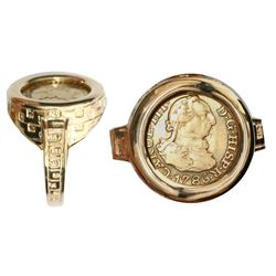 Madrid, Spain, bust 1/2 escudo, Charles III, 1786DV, mounted bust-side up in 14K gold men's ring, si