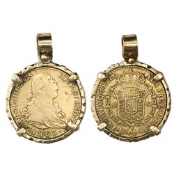 Madrid, Spain, bust 2 escudos, Charles IV, 1803FA, mounted bust-side out in 14K gold rustic-style be