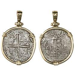 Potosi, Bolivia, cob 2 reales, Philip III, assayer Q, ex-Atocha (1622), Grade 1 (certificate missing