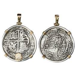 Potosi, Bolivia, cob 8 reales, 16(5)1, assayer E, no countermark, ex-Capitana (1654), mounted cross-