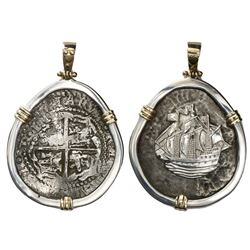 Potosi, Bolivia, cob 8 reales, (16)51, assayer not visible (O or E), no visible countermark, ex-Capi