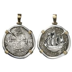 Potosi, Bolivia, cob 8 reales, 1654E, ex-Capitana (1654), mounted cross-side out in silver bezel wit
