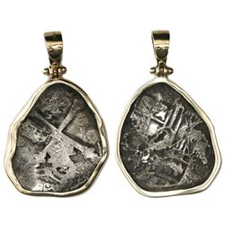 Mexico City, Mexico, cob 4 reales, Philip IV, ex-Maravillas (1656), contour-mounted in 14K gold beze
