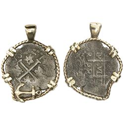 Lima, Peru, cob 1 real, 1688R, ex-Feversham (1711), mounted cross-side out in twisted-wire 14K gold