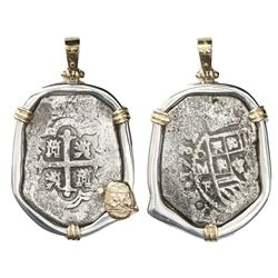 Mexico City, Mexico, cob 8 reales, 1732F, ex-1733 Fleet, mounted cross-side out in silver bezel with