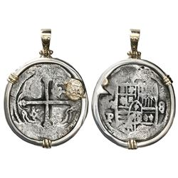 Mexico City, Mexico, cob 8 reales, Philip IV, assayer P, mounted cross-side out in silver bezel with