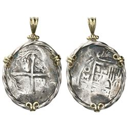 Mexico City, Mexico, cob 8 reales, Philip IV, assayer P, mounted cross-side out in twisted-wire silv