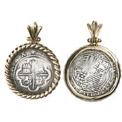 Lima, Peru, cob 2 reales, Philip II, assayer Diego de la Torre, P-ii to left, oD-* to right, mounted