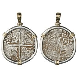 Potosi, Bolivia, cob 8 reales, Philip IV, assayer T (1629, heavy-dot borders, denomination o-VIII),