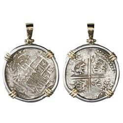"Potosi, Bolivia, cob 8 reales, Philip IV, assayer T (1629, fine-dot borders, denomination 8), ex-""Pa"