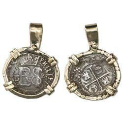 Potosi, Bolivia, cob 1/2 real, Philip II, assayer B (5th period) to left, mintmark P to right, borde