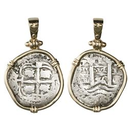 Potosi, Bolivia, cob 1 real, 1656E, mounted in 14K gold bezel with 14K gold prongs and shackle bail.