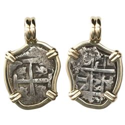 Potosi, Bolivia, cob 1 real, 1743C, mounted cross-side out in 14K gold bezel with fixed bail.