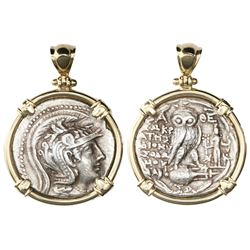 "Attica, Athens, AR tetradrachm, ""New Style,"" ca. 165-42 BC, mounted in 14K gold bezel, prongs and sh"
