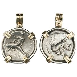 "Calabria, Tarentum, AR nomos, ca. 280 BC, ""boy on dolphin,"" mounted dolphin-side out in silver bezel"