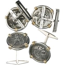 "Kings of Macedon, AR drachms, Alexander III (""the Great""), 336-323 BC, mounted in silver cufflinks w"