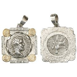 Roman Empire, AR denarius, Septimius Severus, 193-211 AD, Laodicea ad Mare, 198 AD, mounted head-sid