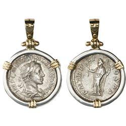 Roman Empire, AR denarius, Severus Alexander, ca. 222-235 AD, Rome mint, mounted in silver bezel wit