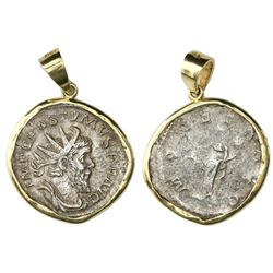 Roman Empire, AR antoninianus, Postumus, struck 262/265 AD, Cologne mint, mounted in 18K gold bezel