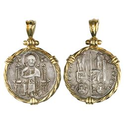 Venice (Italian States), grosso, ca. 1229-12149 AD, mounted Christ-side out in twisted-wire 18K gold