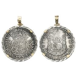 Mexico City, Mexico, pillar 8 reales, Charles III, 1769MF, mounted in twisted-wire silver bezel with
