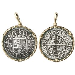 "Madrid, Spain, milled 2 reales ""pistareen,"" Philip V, 1723A, mounted in twisted-wire 14K gold bezel"
