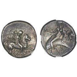 Calabria, Taras, AR didrachm, ca. 332-302 BC, NGC Ch XF, strike 4/5, surface 4/5.