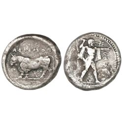 Lucania, Poseidonia, AR stater, 480-400 BC, Poseidon and bull.