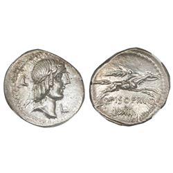Roman Republic, AR denarius, L.Calpurnius Piso Frugi, ca. 90 BC, NGC Ch AU, strike 5/5, surface 4/5.