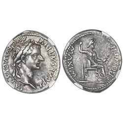 "Roman Empire, AR denarius, Tiberius, 14-37 AD, Lugdunum mint, ""tribute penny,"" NGC XF*, strike 5/5,"