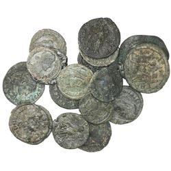 Lot of seventeen Roman Empire bronze follises, various periods.