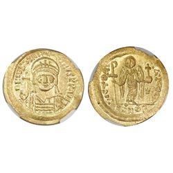 Byzantine Empire, AV solidus, Justinian I, 527-565 AD, NGC MS, strike 4/5, surface 5/5.