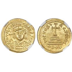 Byzantine Empire, AV solidus, Tiberius II Constantine, 578-582 AD, 22-siliqua-weight issue (rare), N