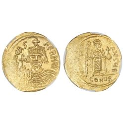 Byzantine Empire, AV solidus, Phocas, 602-610 AD, Constantinople mint, NGC Ch AU, strike 4/5, surfac