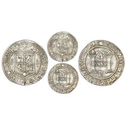 Mexico City, Mexico, 4 reales, Charles-Joanna,  Early Series,  assayer R (Latin), rounded panel, mot
