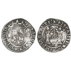 "Mexico City, Mexico, 4 reales, Charles-Joanna, ""Early Series,"" assayer R (Latin), rounded panel, mot"