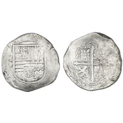 Mexico City, Mexico, cob 8 reales, Philip II, assayer F (style of assayer O, crown with bottom loop)