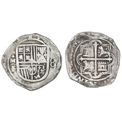 Mexico City, Mexico, cob 8 reales, Philip II, assayer F, with pomegranate-like ornament for o in min