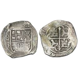 Mexico City, Mexico, cob 8 reales, Philip II or III, assayer F-oD, with OM-F (large O) to left and 8