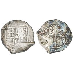 Mexico City, Mexico, cob 8 reales, Philip IV, assayer P, with chopmarks and test-cuts as from circul