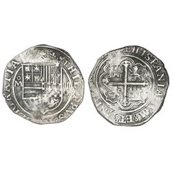 Mexico City, Mexico, cob 4 reales, Philip II, assayer O below denomination oIIII to right, mintmark