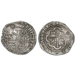 Lima, Peru, cob 2 reales, Philip II, assayer Diego de la Torre, * (with dot inside)-ii to left, P-oD